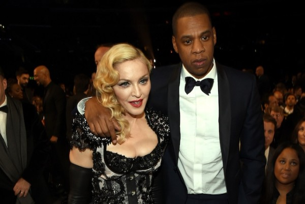 LOS ANGELES, CA - FEBRUARY 08:  Madonna and Jay Z attend The 57th Annual GRAMMY Awards at the STAPLES Center on February 8, 2015 in Los Angeles, California.  (Photo by Larry Busacca/Getty Images for NARAS)